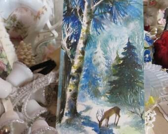 Vintage Retro Mid Century Christmas Greeting Card-Deer-Forest-Unused