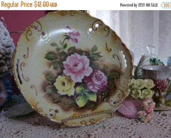 ON SALE Vintage Hand Painted Plate-Marked-Dessert-Roses-8 inch