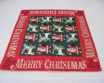 """Vintage Ladies Cotton Hanky Handkerchief Red Green Santa Reindeer Tammi Keefe Design Pattern 12"""" Square Never Used"""