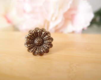 Sunflower Ring-Aged brass-adjustable-steampunk-Victorian-edgy chic- statement-armor ring V074
