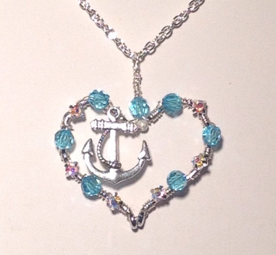 Fish hook necklace with anchor charm fishing hook heart for Fish hook charm