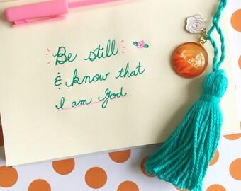 Be still planner tassel clips, kit weekly organizer, planner tassel charm, tassel handbag charm, planner agenda, inspirational gift for her