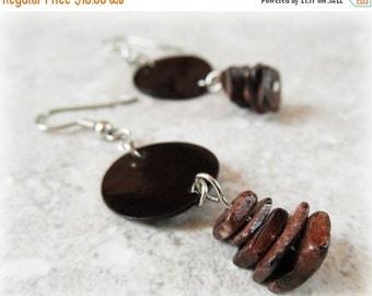 50% OFF SALE Cocoa Shell Earrings. Stacked Shell Chip Earrings. Drop Earrings. OOAK