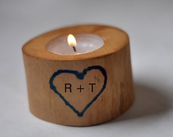 personalized candle holder  • birch wood •  burned birch candle holder