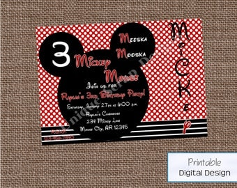 Mickey Mouse Birthday Party Invitation Style DI2185 DIGITAL FILE - Printable