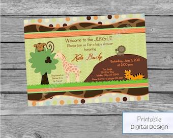 Sweet Safari Baby Shower Invitation Style DI2108 DIGITAL FILE - Printable - by Unique Scrap Designs