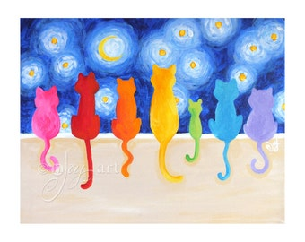 Rainbow Cats on a Wall Under Starry Night, 20x16 Art Print, Cat Themed Wall Art, Whimsical Decor