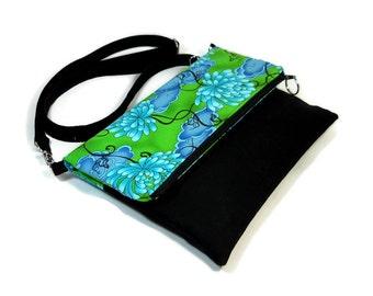 Foldover Crossbody Bag, Zipper Foldover Purse, Floral Cross Body Bag, Adjustable Strap, Removable Strap, Foldover Clutch, Zipper Clutch
