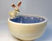 Rabbit Bowl - White Rabbit - Food Safe - Veggie Dip Bowl - Ring Bowl - Trinket Holder - Blue and White - Long Eared Rabbit - Albino Animal