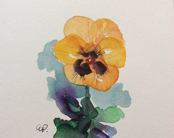 Pansy Watercolor Card / Hand Painted Watercolor Card