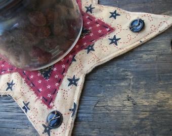 Primitive Americana Patriotic Star Candle Mat