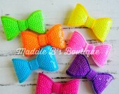 CLOSING SALE Neon-fluorescent sequin bows-U pick color-Summer hair bows- by Maddie B's Boutique on Etsy