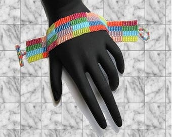 Candy Rainbow Peyote Stitch Bracelet