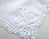 Wedding Handkerchief Collection: Lace Handkerchief with Floral Design 1-Initial Monogram