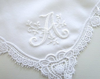 Wedding Hankerchief Collection: Wedding Hankie with Floral Design 1-Initial Monogram