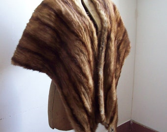Antique mink stole long substantial stole shrug lined excellent condition larger size