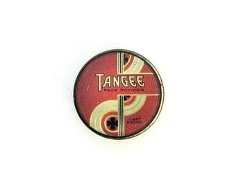 Vintage 1930s Tangee face powder tin with great Art Deco graphics sample powder tin Art Deco collectible tin vintage cosmetic makeup