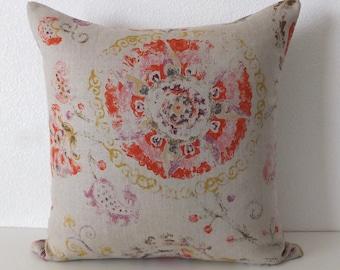 Linen Large Colorful Floral Medallion Pillow Cover