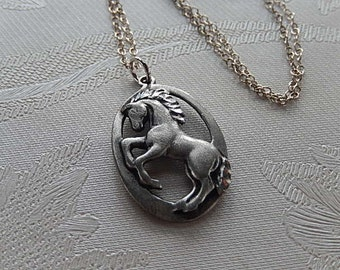 Horse Necklace, Vintage Pendant, Oval Horse Pendant, Gift for Her