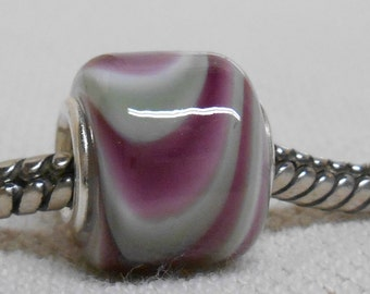 Handmade Lampwork Large Hole Bead Silver Cored Cylinder Bead Purple and Gray/Green Swirl Cylinder Bead