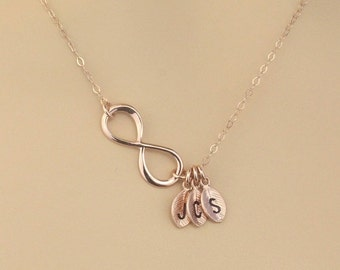 HOLIDAY SALE Personalized Necklace Gift, Rose Gold Infinity, Monogram Initial Charm Necklace, Mother Birthday Gift, Sister Gift, Christma...