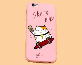 iPhone 6 case iphone 6S case iphone 6 plus iphone 6S plus case cover lucky fortune cat skate board funny kitty