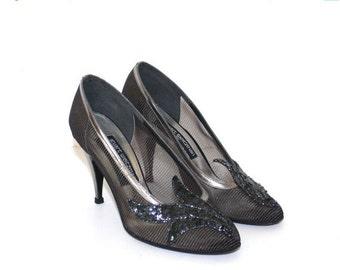 SALE Silver black Stuart Weitzman party pumps. vintage 1980s stiletto heels shoes . formal evening sequins dressy mesh pumps Size 7