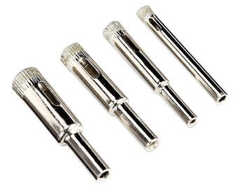 Set Of 4 Pcs Diamond Glass Bit in 1/ 4, 5/ 16, 3/ 8 and 1/ 2 Inch , Drill For Make Hole In Glass, tile, granite
