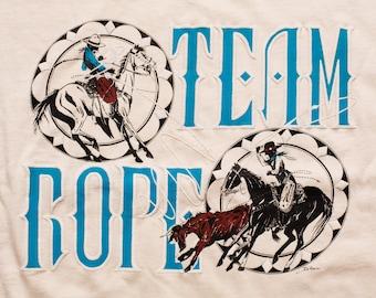 El Rojo Grande Ranch Team Rope T-Shirt, Roping Clinics, Vintage 90s, Cowboy Rodeo Tee
