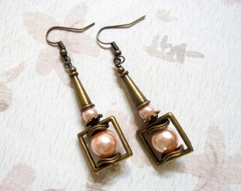 Pink Pearl and Brass Boho Earrings (3330)