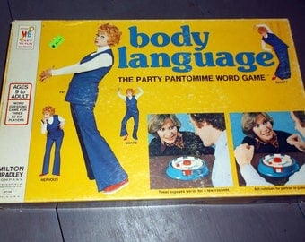 Vintage 1975 BODY LANGUAGE game from Milton Bradley Party Pantomine Word Game Charades Lucille Ball Family Game Night Complete