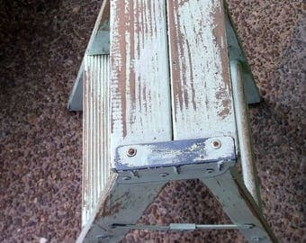 Old Wooden and Metal 2 step stepladder step ladder for display upcycle repurpose Photography Prop etc painted chippy green