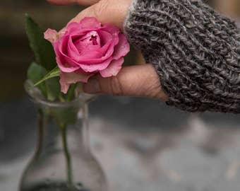 Fingerless Mittens. Handspun Grey Sussex Alpaca and Pink Silk mix yarn.  Ribbed Hand Knit. Fall, Winter.  Warm Women's Fashion Accessory.