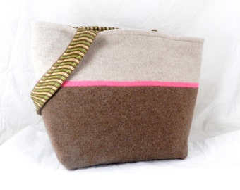 Felted Wool Purse, Shoulder Bag, Brown and Taupe, Pink Stripe, Sweater Purse, Winter Bag