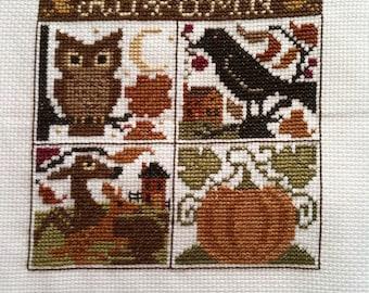 Completed Prairie  Schooler Cross Stitch Sampler - Autumn, Fall, Finished Prairie Schooler Cross Stitch Sampler, Country, Primitive Folk Art