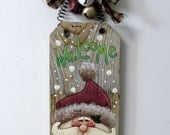 Green Welcome Sign featuring Santa, Hand Painted on Reclaimed Barn Wood, Rustic Barn Wood, Christmas Decoration, Welcome Santa Sign, Bells