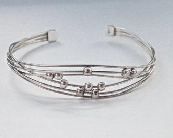 Silver Cuff Bracelet, Sterling Silver Wire, Vintage Jewelry, Modernist Jewelry, Silver Spheres, Adjustable Size Cuff, Vintage Modern, 925