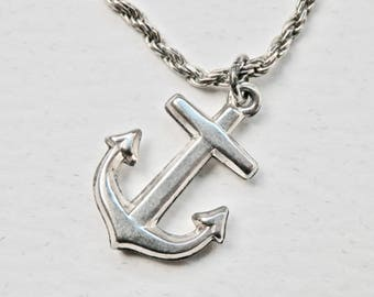 Silver Anchor Pendant Necklace Sterling Silver Nautical Charm 18 Inch Twisted Silver Rope Chain Beachcomber Vintage Resort Jewelry 925