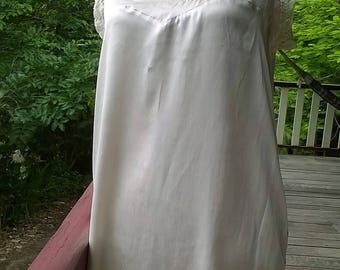 silvery silk + vintage lace dress, reborn romantic shift , medium