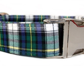 Plaid Dog Collar in Green, Navy Blue and White with Nickel Plate Hardware