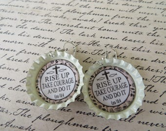 Rise Up Scripture Bottle Cap Earrings