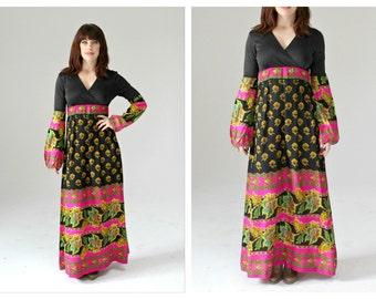 Neon Bohemian Maxi Dress- S/M, 70s, Long Bell Sleeve, Pink & Black Paisley Hippie Festival Style