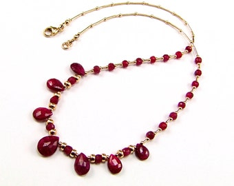 Natural Indian Ruby Gold-Filled Necklace - N746A