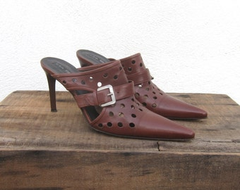 90s Pointy Toe Mules Brown Leather Cheese Holes Polka Dot Brown Heels Made in Italy Size 7