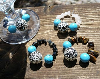 Cheetah and Turquoise Gemstone Wine Glass Charm Rings - Tiger Eye, Rose Quartz, Onyx, Sodalite - Large Charm Rings