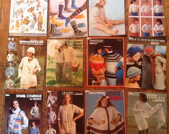 Vintage 1970's Bernat Knitting Magazine Lot Instructions Patterns