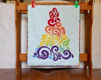 Rainbow Tree Modern Christmas Tree Appliqued Tree Fiber Art Tree Wall Haning Tree for Small Spaces Red Orange Yellow Green Blue Purple