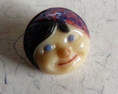 Vintage Glass Button Face with Cap