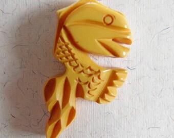 Carved Bakelite Button Dragon Sea Creature Realistic