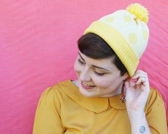 Star Finch Beanie - Yellow/White - Handmade - Australian Wool